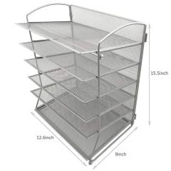 Wideny Office and school Black Metal wire mesh Desk Desktop 6 Trays file holder Document Letter Tray Organizer