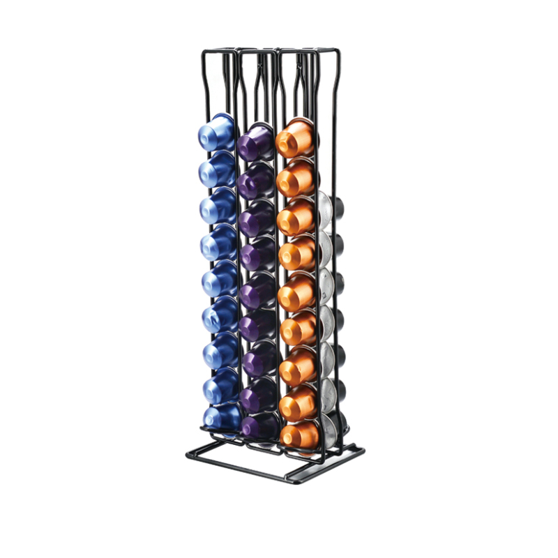 Eco-friendly powder coated restaurant cafe supply rectangle 54 holes wire metal mesh coffee capsule display stand