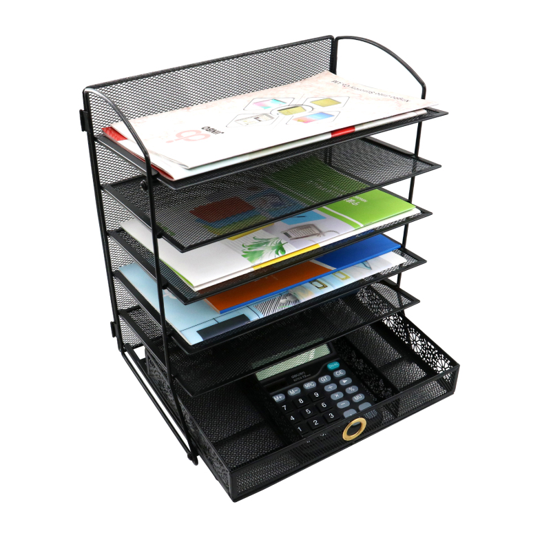 Office and Home Use Desk Organizer Metal Mesh Document Tray 5 Tier File Tray with One Drawer