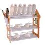 Modern Design 3 Tier Kitchen Plate Drying Stainless Steel Removable Black Dish Rack with cover