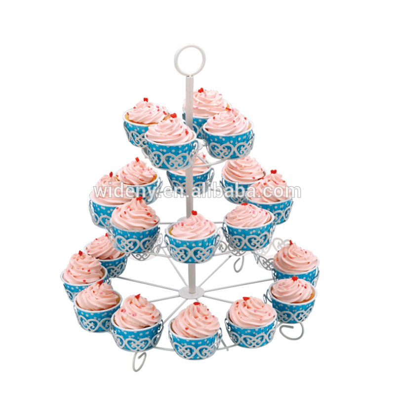 3 tier foldable wedding decorative wire metal folding fancy mini candy wholesales cup cake cupcake stand for holding rack