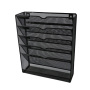 Office Metal Mesh Wall File Mesh Organizer Black 5 Pockets Hanging Letter & Document Holder for Office and Home