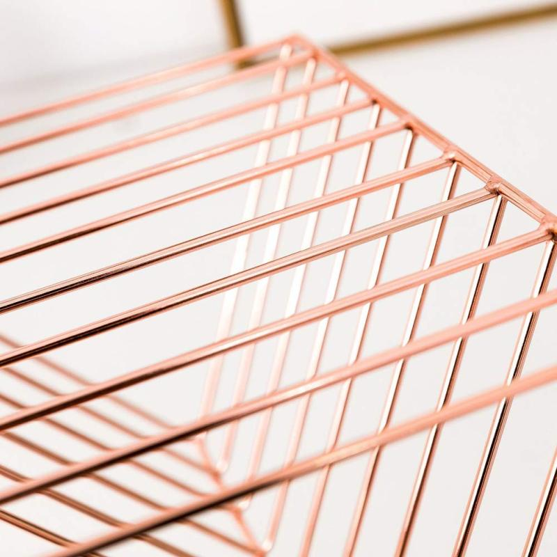 Rose Gold 9 Tier Section Mail Document File Organizer Use for Office Home Iron wire Plating File Letter Tray