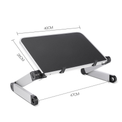 Office or Home Desk-Black Foldable Aluminum Portable Lap Desk Stand Adjustable Laptop Stand Table for bed