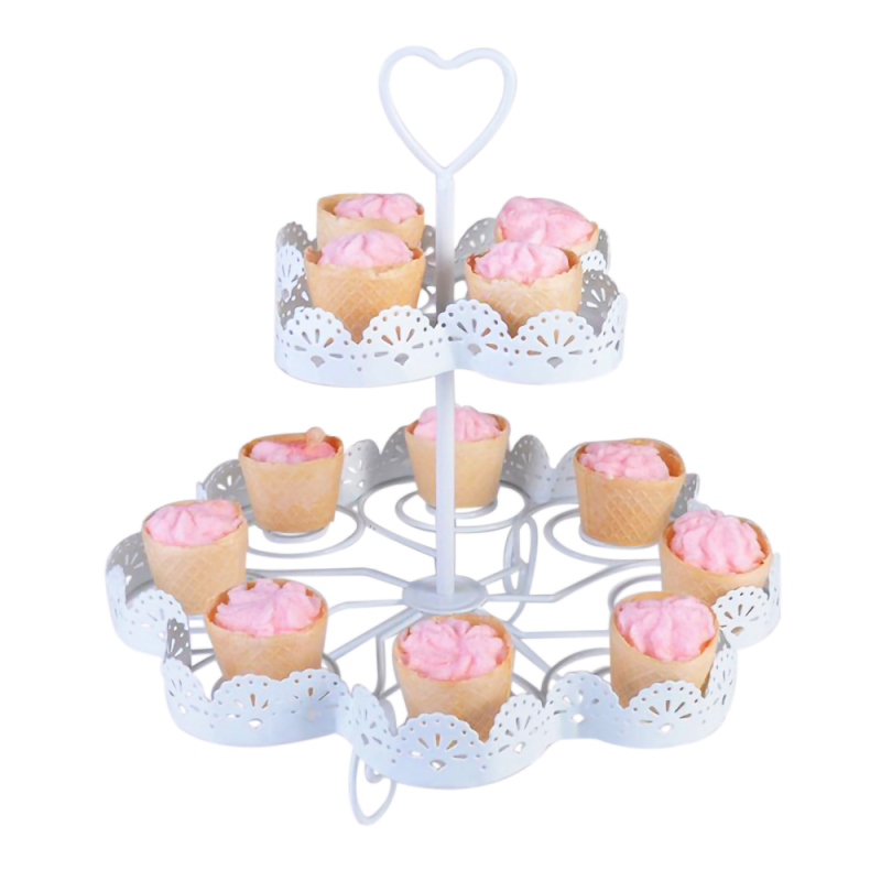 Multifunctional Party Wedding Afternoon Tea Decorative Round Shaped Metal White Cake Stand