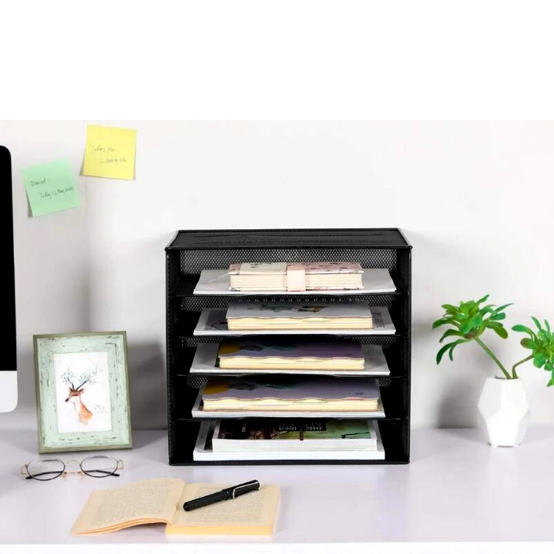 Home Storage Black Metal Desktop Mesh File Organizers for Office Storage Document Papers Bills Folders Letters