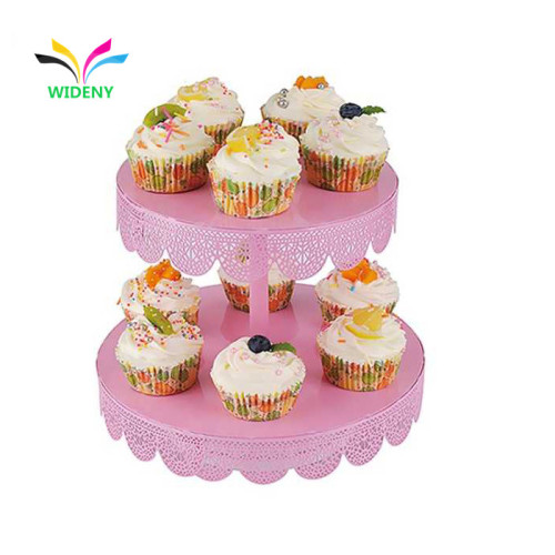 Multifunctional party decorative round shaped metal 2 tier cake stand