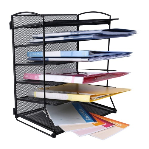 Office Home School Supplies 6 Tier Black Metal Mesh Wall Mount File Document Letter Magazine Rack