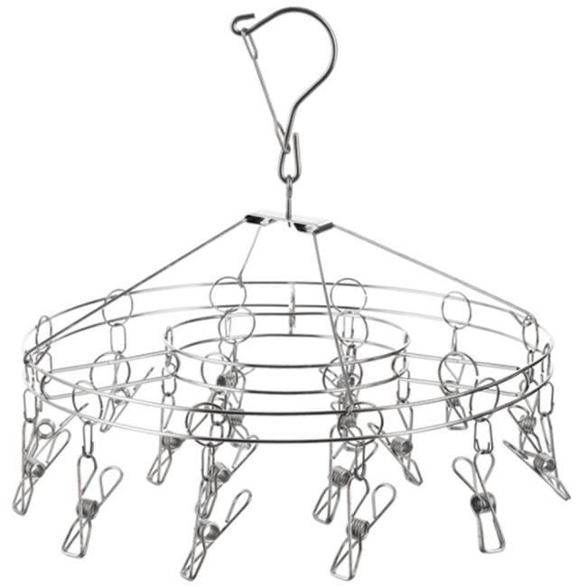 Home High Quality Double Wire Round Space Saving Clothes Hangers with 18 Clips for Socks or Towel