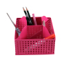 WIDENY Wholesale Home Office Kids Red Rotating Small Eco Metal Mesh Desk Organizer with Logo