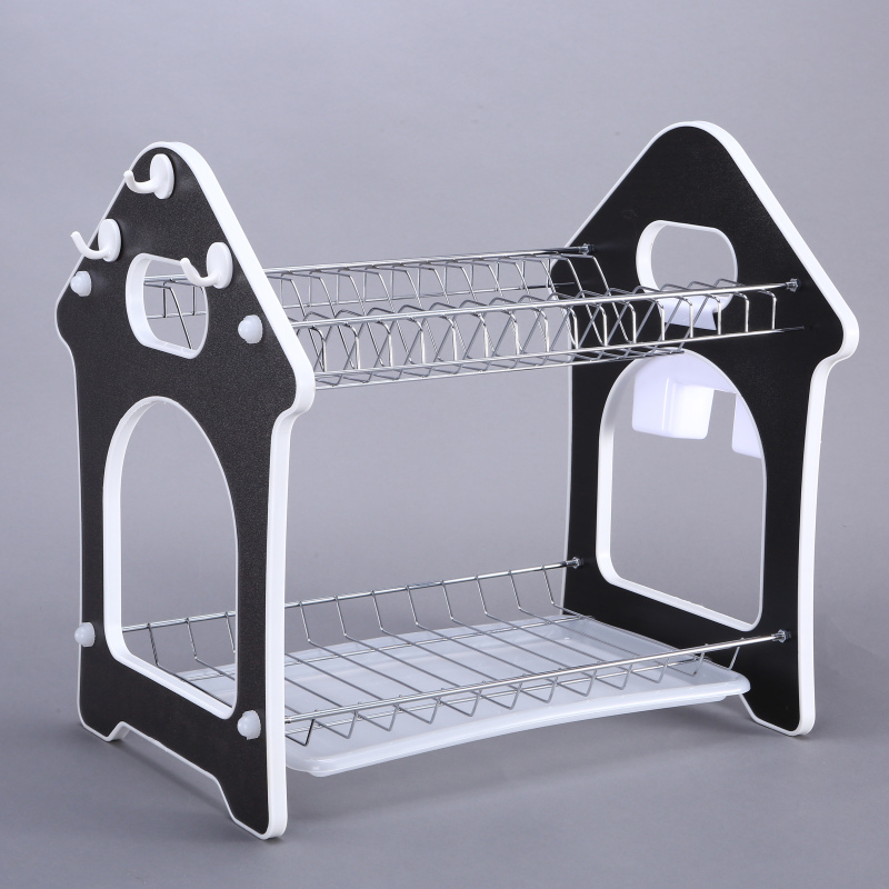 wholesale custom kitchen sink multi-function house shape 2 layer metal stainless steel dish drainer rack