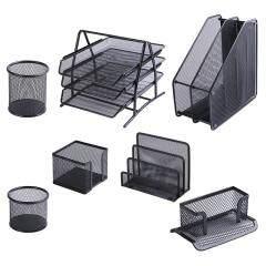 School office supply stationery Wideny powder coated metal wire mesh 7pcs 3 tier file tray storage organizer desk set