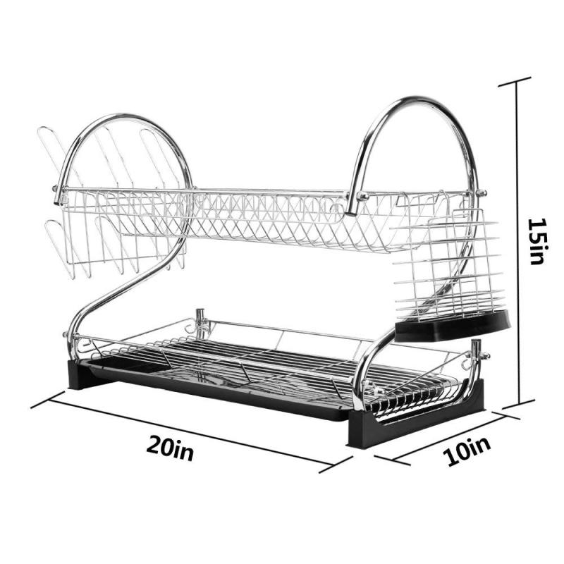 Home kitchen organizer counter iron metal wire stainless steel Cook Chrome Folding collapsible Spice drainer drying Dish Rack