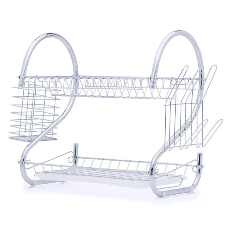 Home kitchen organizer counter metal wire stainless steel Cook Chrome Folding collapsible Spice drainer drying Dish Rack