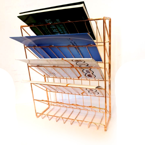 Rose Gold vertical document Rack expandable file organizers Wall Mount hanging Document Letter Tray Organizer