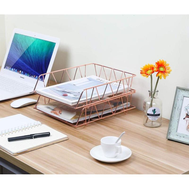 Office & school Iron Mesh Desk Desktop Rose Gold stackable folding 2-tier paper A4 document metal File Tray