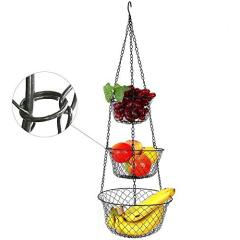 Wideny Kitchen 3-Tier Black Metal Wire Removable Fruit Hanging Vegetable Kitchen Storage Basket