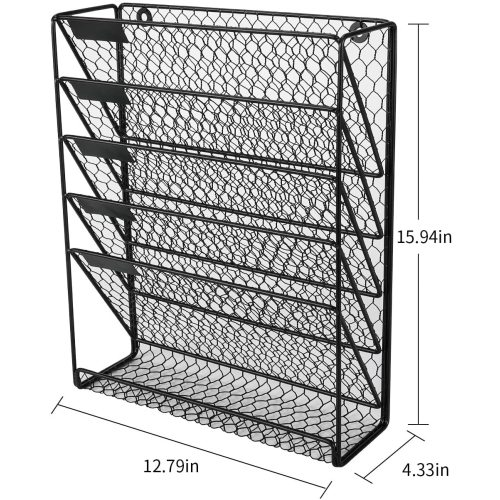 New Office Home Metal Chicken Wire Wall Mount 6 Tier Black Hanging File Holder Organizer for Book Magazine Rack