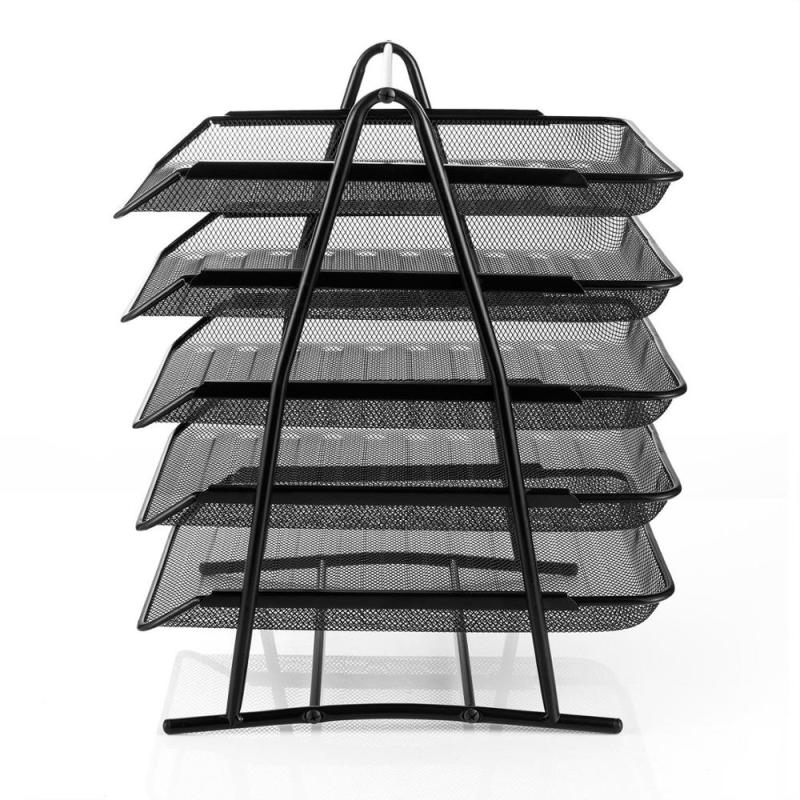 Office Desk Organizer Desktop Mesh Stacking Document Tray Letter Holder Metal Wire 5 Tier File Tray
