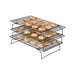 wholesale supply Home kitchen 3 Tier silver metal wire stainless steel cooling rack for bakery cake bread barbecue