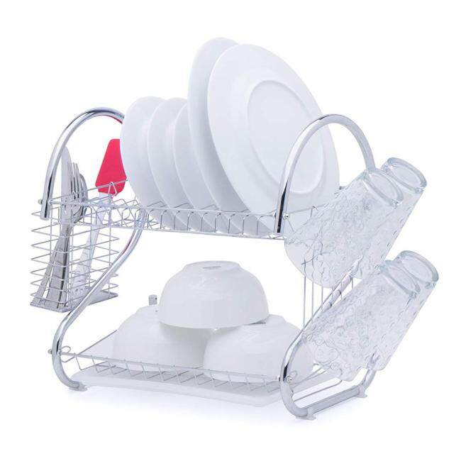 Large Capacity Tool 2 Layers Cutlery Rack Metal Iron Steel Dish Drain Drying Rack with Cutting Board Bracket