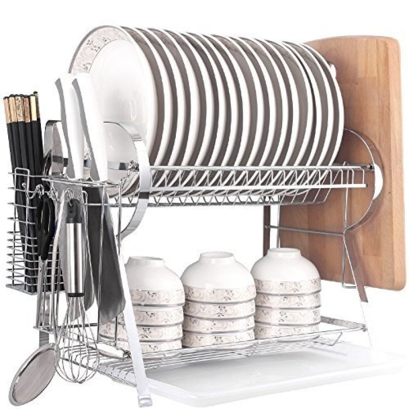 Amazon hot sale easy cleaning R type 2 tiers metal dish drying rack for home kichen