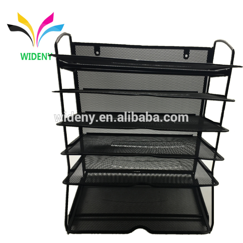 Office Vertical Mesh 5-Tier Black Hanging File Letter Organizer Tray