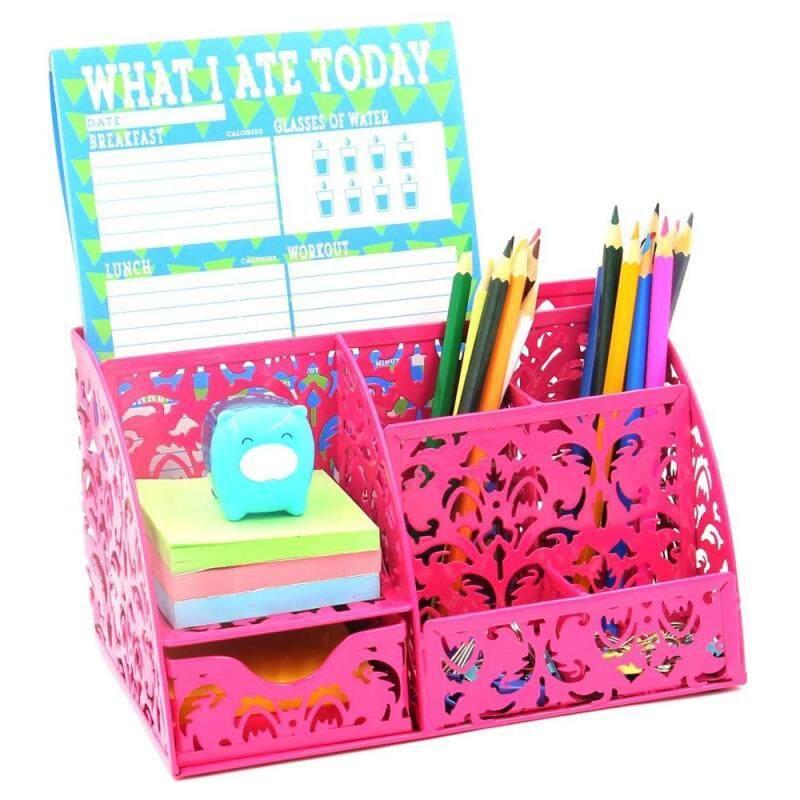 Wideny Office and home 9 slots Mesh Desktop Metal Black Desk makeup Storage drawers Organizer