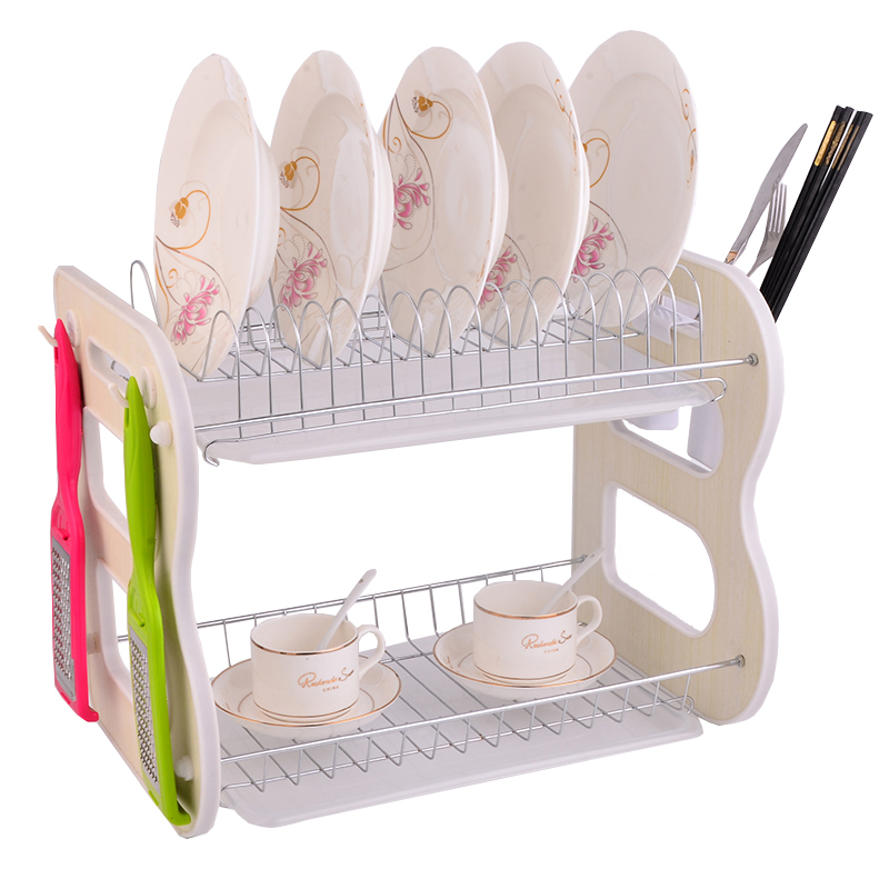 New Style Collapsible Metal 2 Tier Kitchen Dish Rack With Utensils Holder