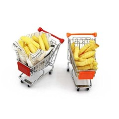 2 PCS Mini Red & Orange French Fry Appetizers Metal iron Shopping Cart Basket for Holder Fries Fish Chips