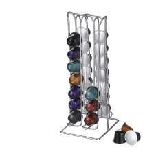 Wideny luxury design powder coated home cafe supply metal wire mesh iron four layer capsule coffee stand