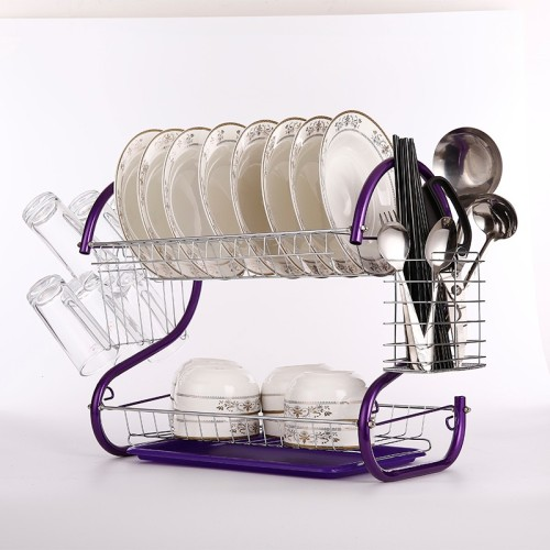 Wholesale 2 tier Adjustable Over The Sink Foldable Roll-up Dish Drying Rack