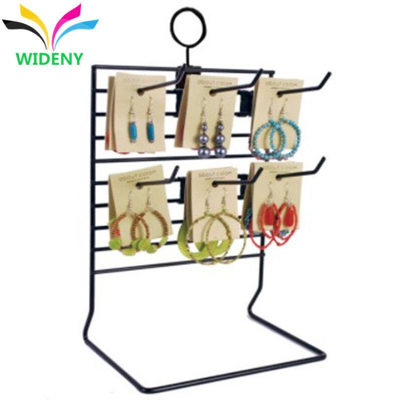 Store accessories fancy design custom package counter desktop wire metal hanging earring display rack