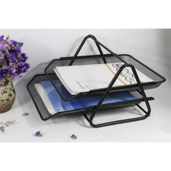 Wideny Office cheapest price Desk Mesh Document Letter Tray Organizer Wire Metal stackable 2-layer folding Paper File Tray