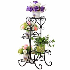 Home & Garden decoration morden 4 tiers square black powder coated Wedding wire metal plant stand