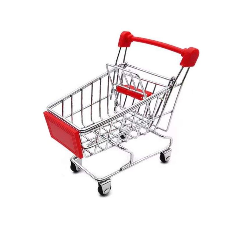 Manufacture Direct Sale Small Supermarket Basket Trolley  Promotion Child Dimensions Mini Shopping Cart with Wheels