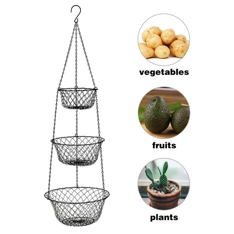 Iron Wire Black Kitchen Storage Basket  Vegetable Container Heavy Duty Wire vegetables 3 tier fruit basket