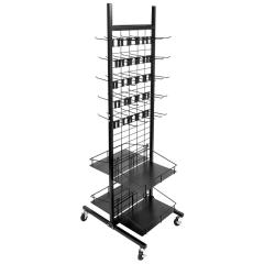 Grocery store supermarket usage metal hook product display supermarket rack with moveable wheels