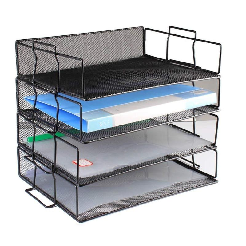 Amazon Hot Sale Office desk organizer 4 tier mesh paper file document stackable letter tray for organizer holder