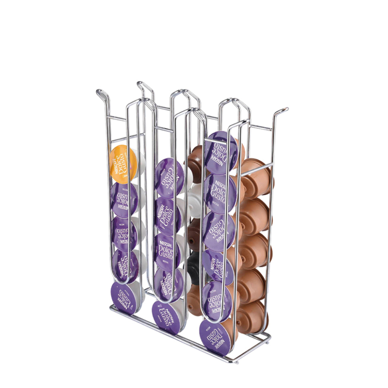 Special design promotional powder coated hotel cafe supply 6 tier wire metal nespresso coffee pod holder