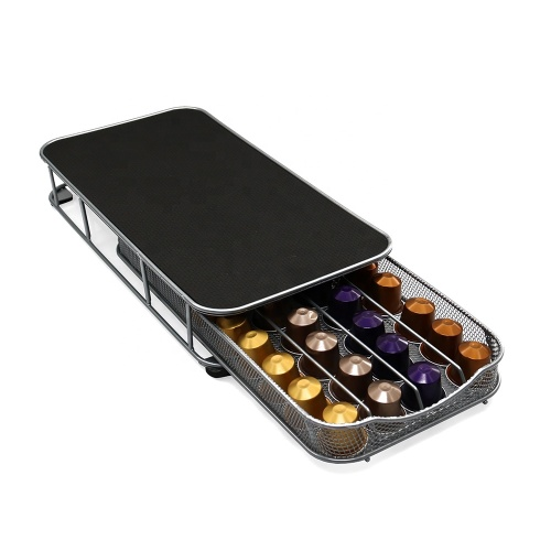 Metal Chrome 40pcs  Storage Drawer Nespresso K Cup Dolce Gusto Capsules Coffee Pod Holder
