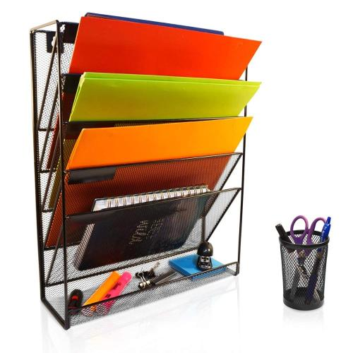 Wideny hot-sale Office stationery metal wire mesh Desk desktop door hanging wall mounted file holder organizer