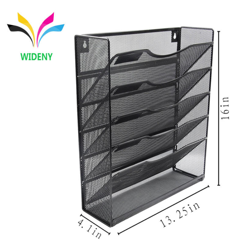 Wideny 5 Tier hanging document holder  letter tray organizer mesh metal wall mounted file organizer