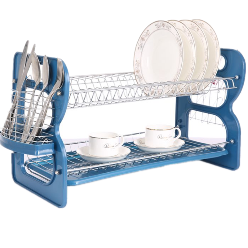 Home kitchen organizer Metal wire 3 Layer Dish Rack Plate with Mug Stand