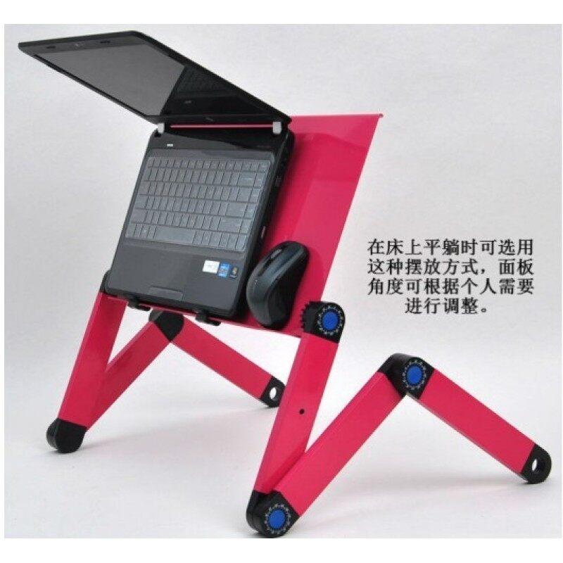 Office home school black adjustable foldable metal mesh desk desktop computer laptop stand for bed or sofa