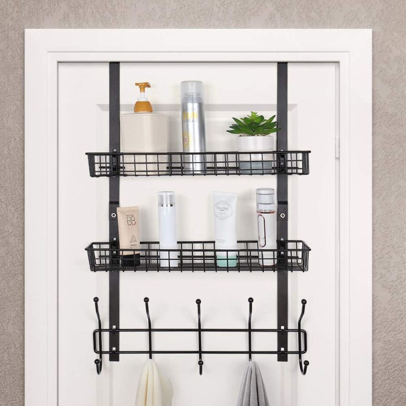 Office Home Storage Metal Clothes Towel Jewelry Wall Over The Door Hanging Organizer with Hooks Shelf Perfume Basket Holders