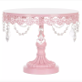 High quality Wholesale Supply Cake Decorating Rotating Rose Pink round Metal Wedding Party Stand Cupcake
