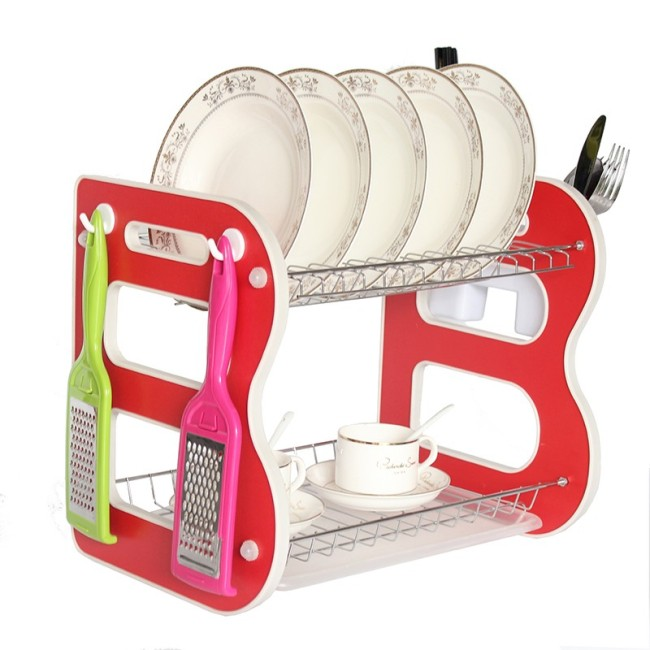 Manufacturer B Shape Cheap Home kitchen Red Modern Small Plastic Dish rack