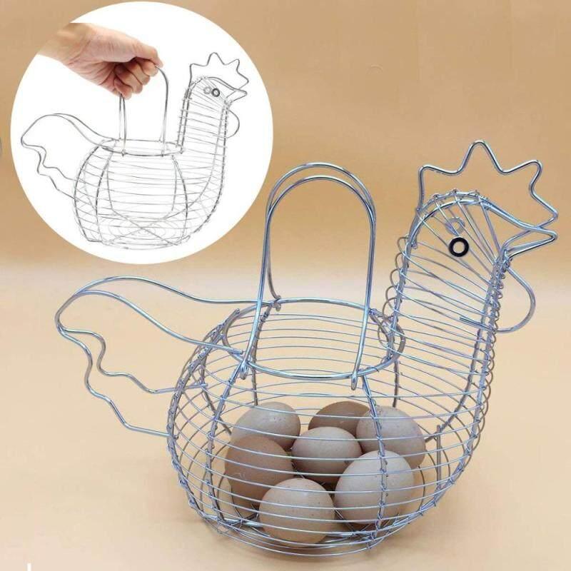 Manufacture Farmhouse Style Black Metal Kitchen Decorative Storage Iron Wire Chicken Design Egg Basket