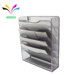 Wideny Office wire wall mount mounted hanging 5 pocket metal mesh file organizer